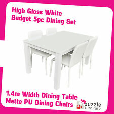 High Gloss White 5 Piece Dining Set- 1.4m Table and White Chair- Brand New