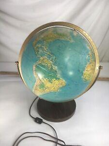 "Vintage REPLOGLE light up lighted globe 12"" WORLD HORIZON Series wood base VGUC"