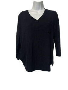 Marled Essentials Womens  Size L Black Tee T-Shirt Top V Neck Long Sleeve
