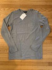 "NWT Balmain Long Sleeve ""B"" Embroiled T-Shirt - Gray - Size S"