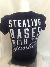 """VICTORIAS SECRET """"STEALING BASES WITH THE YANKEES""""  V NECK TEE SHIRT NEW MEDIUM"""