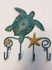 SEA TURTLE AND STARFISH WALL HOOK Metal Beach Bathroom Decor Jewelry Key New