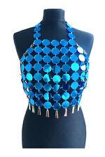 Women Shiny Metal Crop Backless Summer Beach Party Club Sequin Tops Vest Shirt
