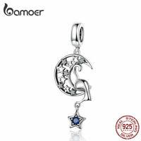 BAMOER DIY Charm 925 Sterling silver Cat moon AAA CZ Fit Bracelet Accessories