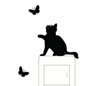 wall stickers Lovely Cat butterfly Room Window Wall Decorating Switch Sticker