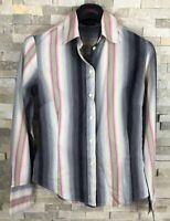 Paul Smith Black Ladies Size 40 Pink Grey Striped Shirt Blouse