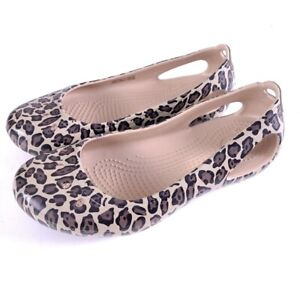 CROCS Kadee Women's Leopard Print Loafer Shoes Size 5
