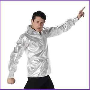 Karnival Mens Silver Sequin Disco Shirt
