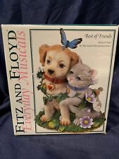 Fitz and Floyd Best Of Friends Musical Spring floral Dog And Kitten