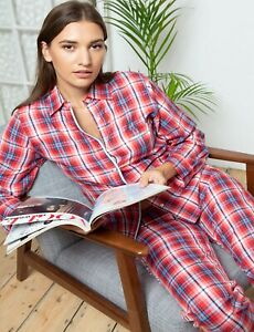 NEW Ladies 100% Cotton  Deluxe Oxford Twill Check Cottonreal Pyjamas/Loungewear