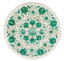 """12"""" White Marble Coffee Table Top Malachite Stone Work Beautiful Kitchen Decor"""