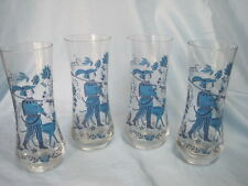 4 VTG Drinking Glasses Hunter Man Boy Dog Tumbler Vase heavy base 6 3/8 x 2 1/2""