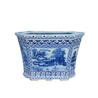 Beautiful Oriental Blue and White Blue Willow Hexagonal Porcelain Pot