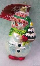 New Retired SLAVIC TREASURES GLASS ORNAMENT - HOLIDAY TREAT (RED) Snowman 2002