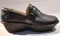 Nurse Mates Gelsey Size 8 W Black Leather Slip On Clog Mule Professional Shoes