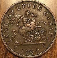 1854 UPPER CANADA DRAGONSLAYER ONE PENNY TOKEN - Breton 720 - Crosslet 4