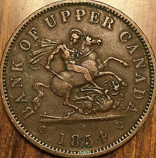 1854 UPPER CANADA DRAGONSLAYER ONE PENNY TOKEN - Breton 720 - Crosslet 4