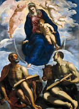 Oil painting Mary with the Child, Venerated by St. Marc and St. Luke and angels