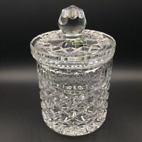 Vtg Violetta Lead Crystal Lidded Canister Jar Cookie Biscuit Tobacco Diamond Cut