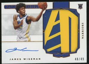 2020-21 Panini National Treasures Rookie Patch James Wiseman RC Auto On Card /49