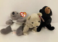 Lot of 3 Ty Beanie Baby Bears Blackie 1993 Almond 1999 Mel 1996 See Photos