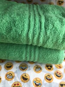 Bath Towels Two Light Weight Mint Wave Main Stays New