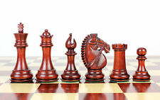 "Wooden Chess Set Pieces Bud Rose Wood Rio Staunton 4"" + 2 Extra Queens"