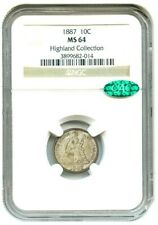 1887 10C Seated Liberty Dime, NGC MS 64 & CAC Approved