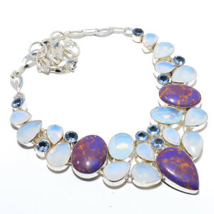 """Copper Purple Turquoise & Milky Opal 925 Sterling Silver Necklace 17.99"""" S2616"""