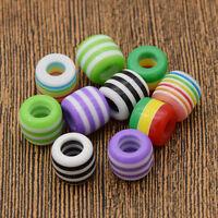10Pcs Striped Coloured Hair Braid Dread Dreadlock Beads Jewelry Cuff Clips Decor