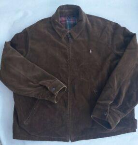 Vintage Polo Ralph Lauren Corduroy Harrington Jacket Size XXL 2XL