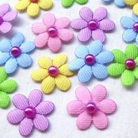 Upick 12PCS Felt Padded Ribbon Flowers Bows Peony Appliques Craft Mix A483