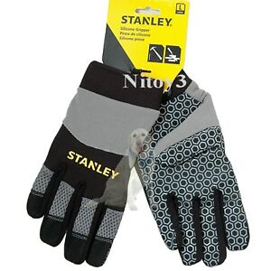 Stanley Silicone Gripper Work Gloves Unisex Large: Girth 9½-10   (T)