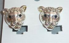 Silvertone & Diamante Leopard/ Panther Cat  / Clip on Earrings  NEW
