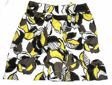 "M&S Marks & Spencer Floral Skirt khaki lime A Line 100% cotton 23"" Size 18 vgc"