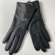 Sz: 7 Nordstrom Womens Leather Cashmere Lined Touchscreen Gloves Black NWOT