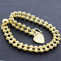 AN723 GENUINE REAL 18K YELLOW G/F GOLD BEAD DESIGN HEART CHARM BRACELET BANGLE