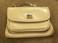 Lord & Taylor Vintage Leather Handbag Gold chain/front of purse. 3 pocket White!