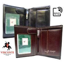 Para Hombre Para Cartera de Cuero Real de RFID Negro o Marrón Calidad Visconti Nuevo en Caja MZ3
