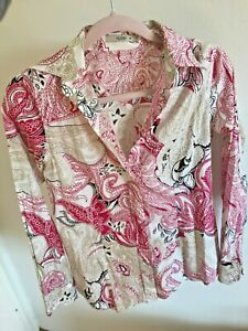 Etro Paisley Button Down Collar Blouse Shirt Pink Cotton It 40 Xs Netaporter