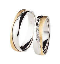 +TOP ANGEBOT+ 2x 375 Weißgold Gold bicolor Trauringe Eheringe + Diamant Brillant