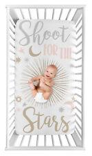 Sweet Jojo Pink Gold Star Moon Celestial Girl Photo Op Nursery Fitted Crib Sheet