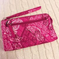 Vera Bradley Front Zip Wristlet Stamped Paisley Pink Quilted Cotton NWT MSRP $34