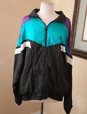 Vtg 90s Color Block Windbreaker Track Jacket Men's L Rave Club Kid Teal Black