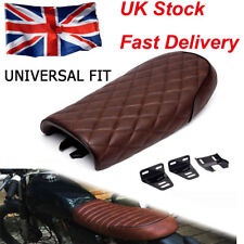 Universal Motorcycle Cafe Racer Seat Flat Brat Saddle For Yamaha Honda Brown Fe