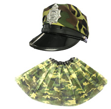 ARMY HAT, ARMY TUTU CAPTAIN UNISEX ARMY CAMOUFLAGE CAMO COSTUME FANCY DRESS PART