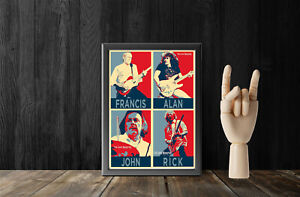 """Status Quo The Frantic Four Wall Art Set of 4 x 7"""" by 5"""" Gloss Prints Popart"""