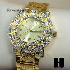 HipHop Elegant Gold Tone Bling Iced Out Elgin Dress Crystal bracelet Watch GW128