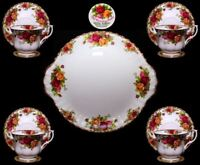 Royal Albert Old Country Roses Cake Plate with 4 Teacups and Saucers
