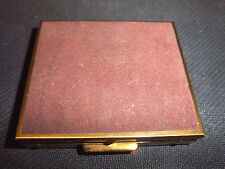 VINTAGE LADIES GOLD PLATED  POWDER COMPACT WITH MAROON VELVET TOP **